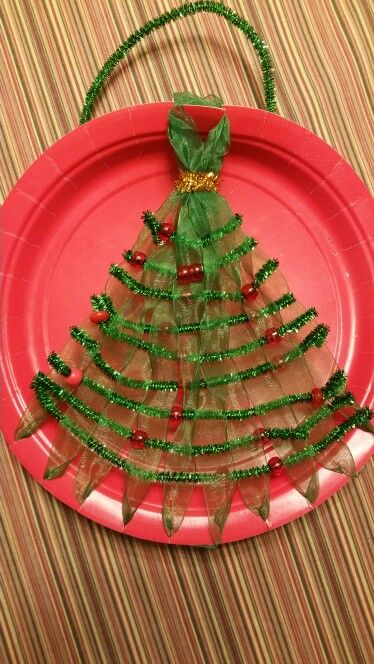 Christmas Tree Paper Plate Weaving