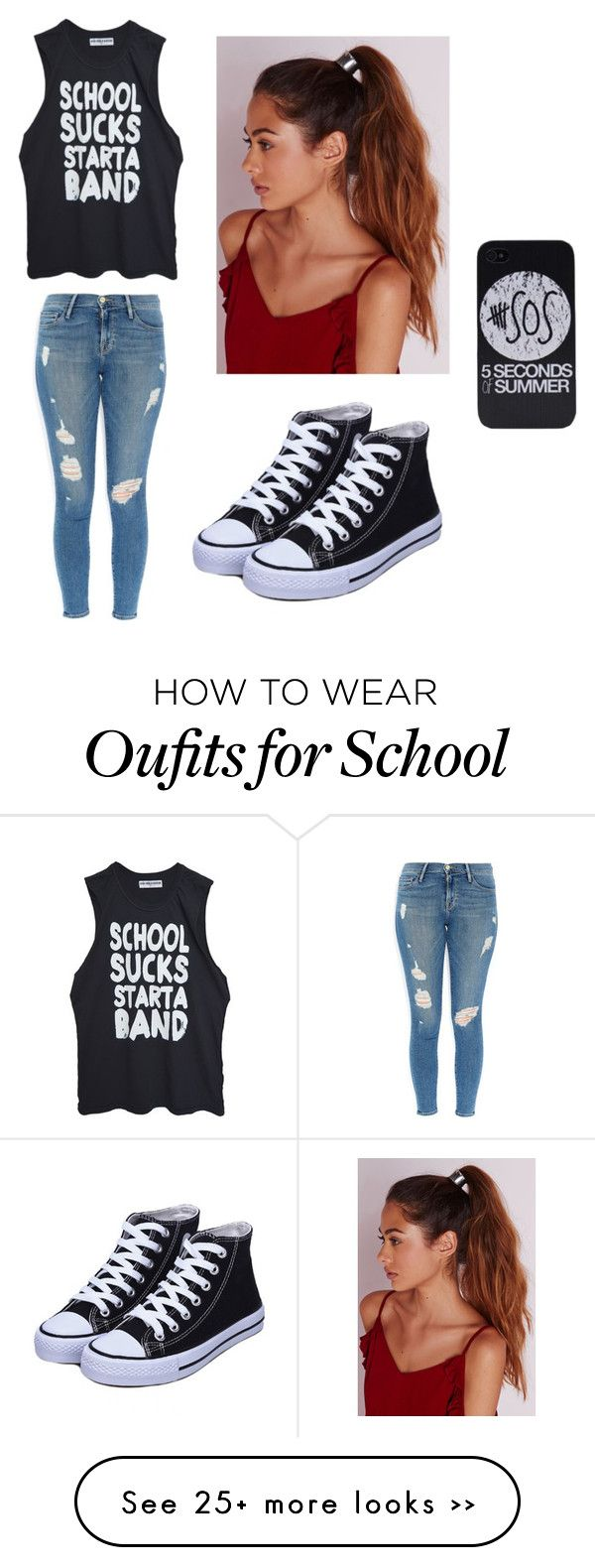 """School Sucks"" by jkeyondrea on Polyvore featuring moda, Frame Denim e Missguided"