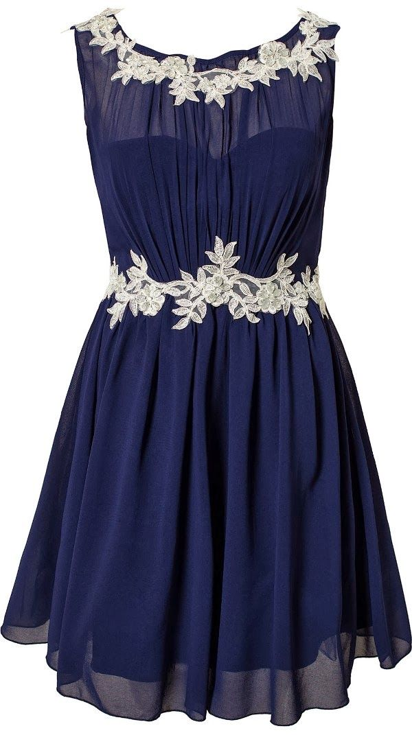 Cocktail chiffon bridesmaid dress in navy blue and beautiful embroidered floral lace on the neckline and waist. Lovely!