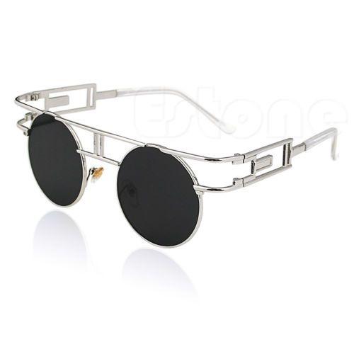 Mens-Mulheres-Moda-Retro-Armacao-De-Metal-Redondo-oculos-De-Sol-oculos-De-Lente-Espelhada
