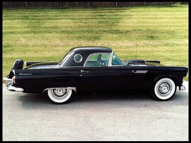 1956 Ford Thunderbird. Overpowered little bastard. A 312 cu.in Y-block V8...with speedometer bragging 150 mph top.