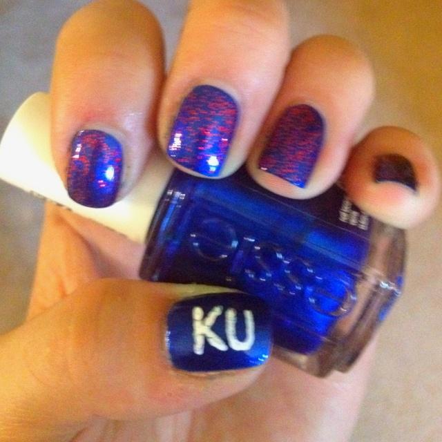 9 best KU Nail Art images on Pinterest   Kansas jayhawks, March ...