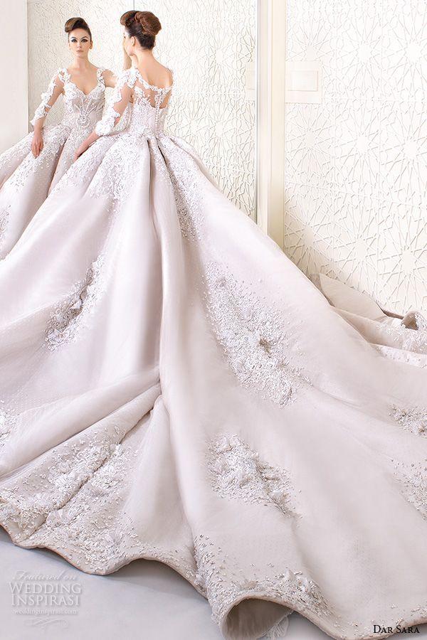 dar sara bridal 2016 wedding dresses stunning ball gown embroidered floral 3 4 quarter sleeves v neckline corset bodice