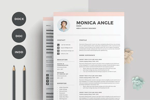 Resume/CV | Monica by Occy Design on @creativemarket