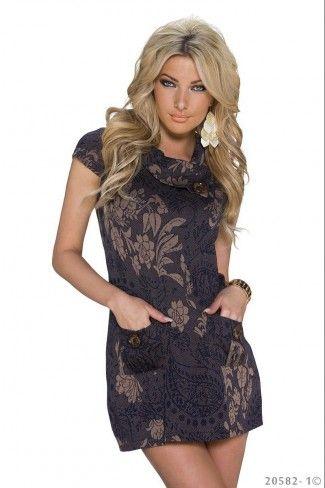 Φλοράλ μίνι φόρεμα με τσέπες - Σκούρο Καφέ