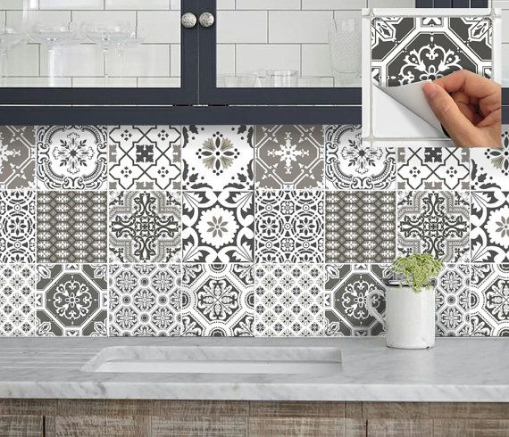 Kitchen bathroom Stair Risers Tile Decals Vinyl Sticker :  Portugal Patchwork Pmix5 EarthGrey