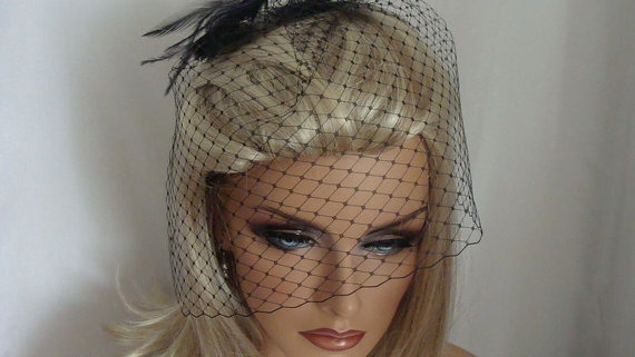 Black 9 inch Bridal Birdcage Veil by SusanCarolBridal on Etsy, $35.00
