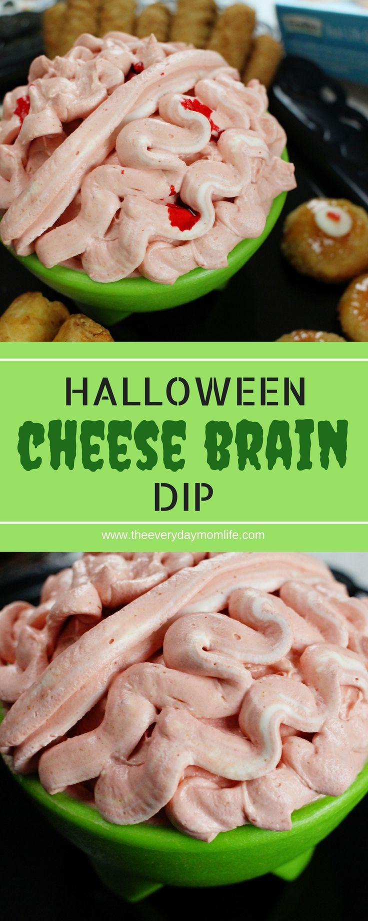 This creepy cheese brain Halloween dip recipe will give your guests a fright. Perfect for Halloween parties! #halloweenparty #Halloweendecor #recipeoftheday