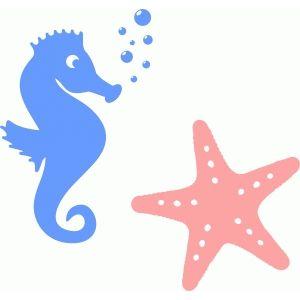 Silhouette Design Store - View Design #55284: seahorse & starfish