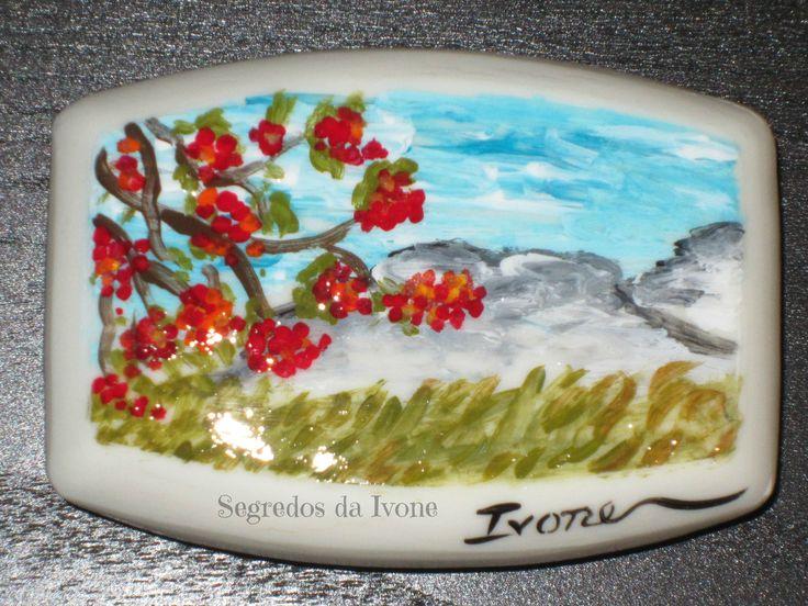 SA48-  Pintura em sabonete - motivo paisagem de campo