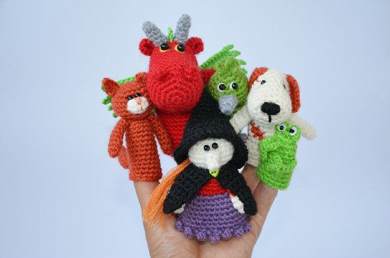 Crochet Finger Puppets Fairy Tale Set Room On The by lamicogufo ♡