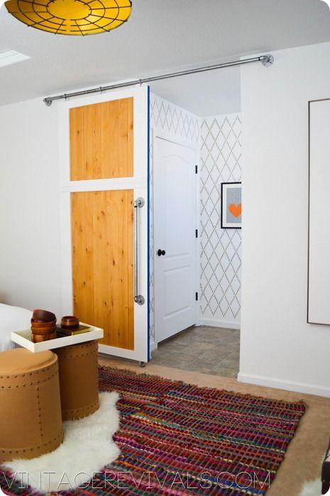 cómo hacer una puerta deslizantes. Sliding Door How To Stencil Wall vintagerevivals.com