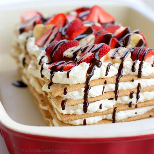 Banana Split Ice Box Cake