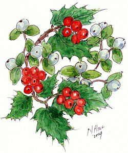 Painting - Mistletoe And Holly Wreath by Nell Hill