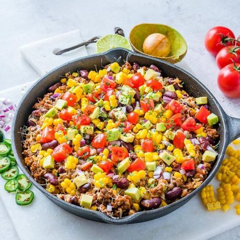 One-Pan Tex-Mex Hearty Turkey + Rice Skillet for the Whole Fam! - Clean Food Crush - A One-Pan meal that will make the whole #FAM happy! Weekend or weeknight, try this one!