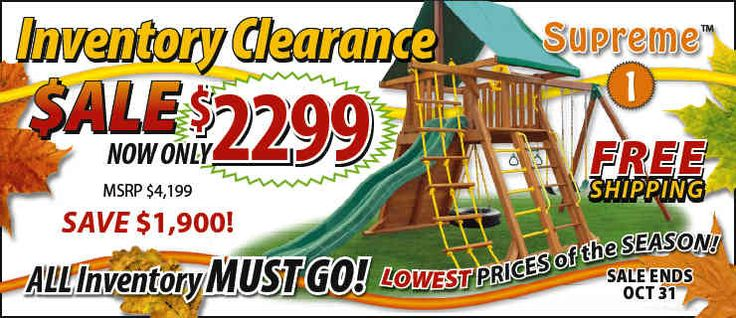 It may only be October, but we're already busy preparing for next season, and that means we're running amazing sales! Save on all of our wooden cedar swing sets -- include the Supreme, the Dreamscape, the Fantasy and more -- with our inventory clearance specials. You'll save hundreds, even thousands, with extraordinary pricing and free shipping!