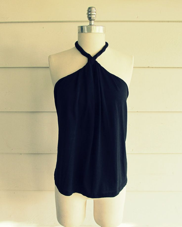 No Sew, DIY Tee-Shirt Halter.  Gonna try it with a few old shirtsNo Sewing, Diy Shirt, Halter Tops, Diy Clothing, Tee Shirts, Tees Shirts Halter, Sewing Machine, T Shirts, Diy Tees Shirts