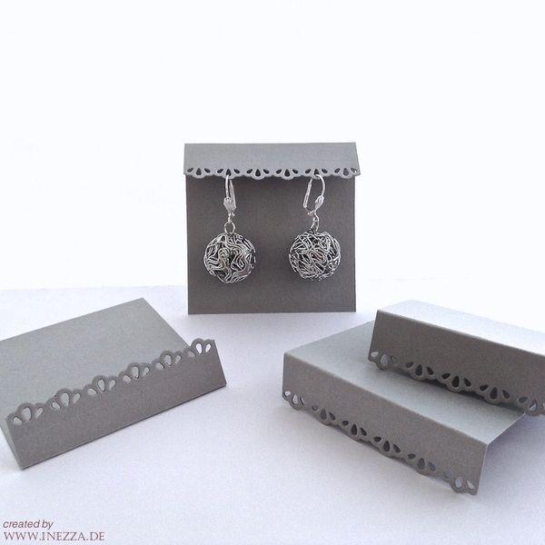 Ohrring Displays 10 x handmade Ohrringkarten grau von Inezza – Material auf DaWa…