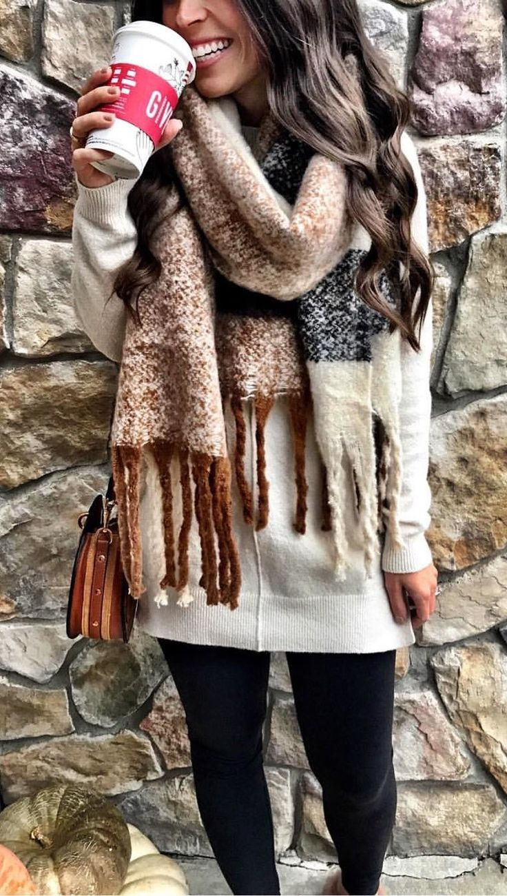 #winter #outfits white suede jacket with brown scarf