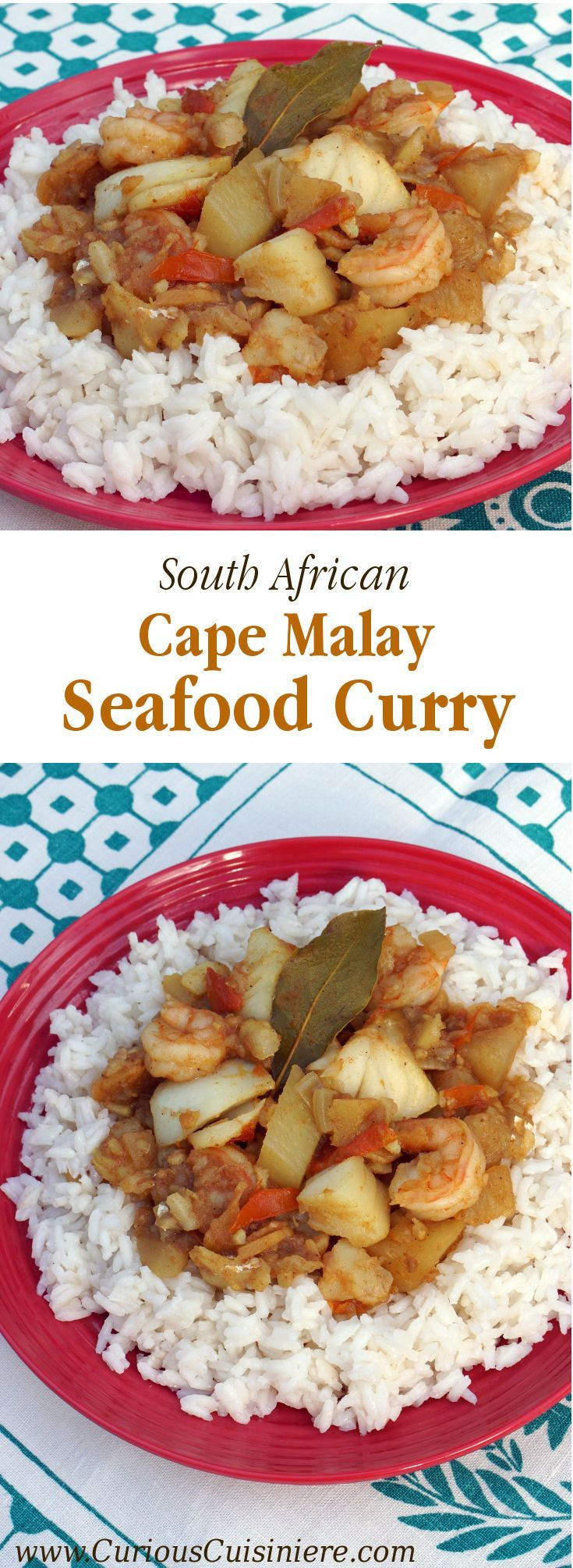 This Seafood Curry is bursting with robust Cape Malay flavors that will transport you to South Africa with every bite.   www.CuriousCuisiniere.com
