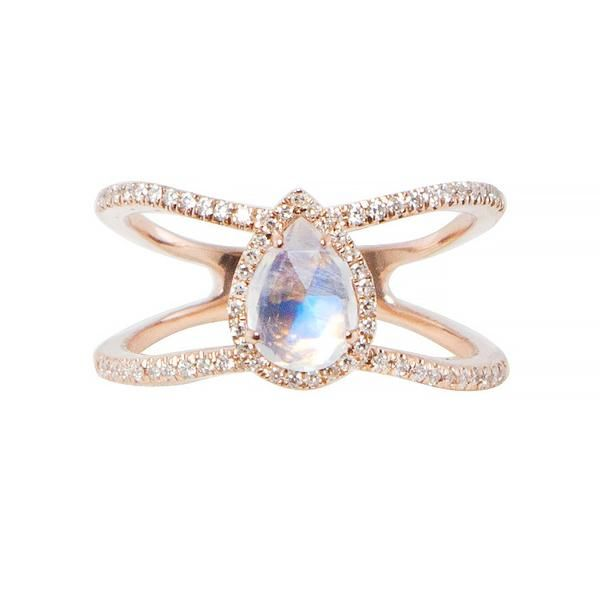 14kt gold and diamond Petite Triangle Double Band Opal ring – Luna Skye