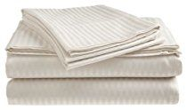 Queen Size 400 Thread Count 100% Cotton Sateen Dobby Stripe Sheet Set -White