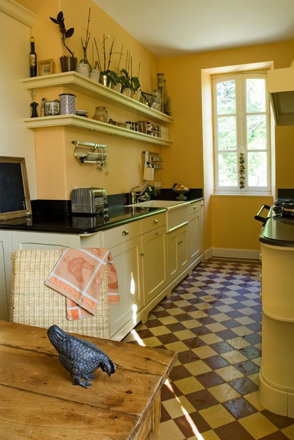 19 best cuisines esprit cottage images on pinterest for Carrelage damier