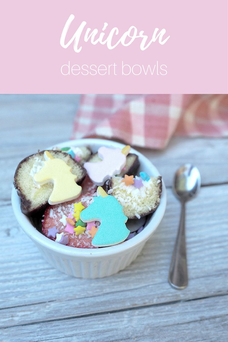 A Unicorn bowl: the most colorful blend of snack cakes, sprinkles, strawberries and coconut