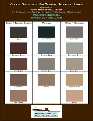 eichler paint colors mid century modern paint and stain swatch home. Black Bedroom Furniture Sets. Home Design Ideas