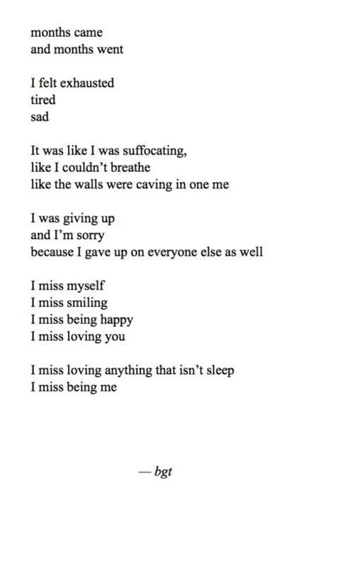 I think this is the best way to explain it. I have hurt so many people and I could never forgive myself for it. I'm sorry to all the ones I loved. I just never could be enough for anyone. Not even myself. I don't want to say goodbye so instead I will end with I'm sorry.