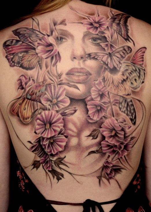 WOW~ℒᎧᏤᏋ this AMAZING portrait with gorgeous butterflies & flowers back piece by Justin Jakus #InkedMagazine ღ❤ღ