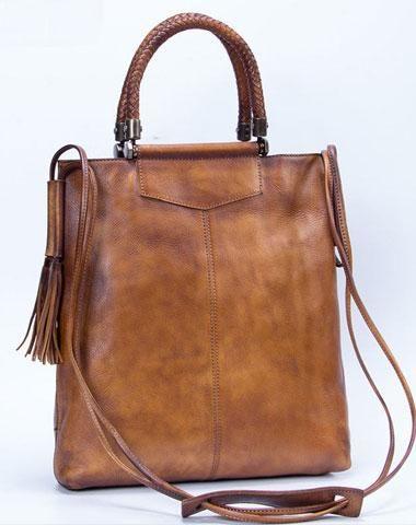 001afe1c97b4 Genuine Leather Handbag Vintage Tote Woven Tassel Crossbody Bag Shoulder  Bag Purse For Women