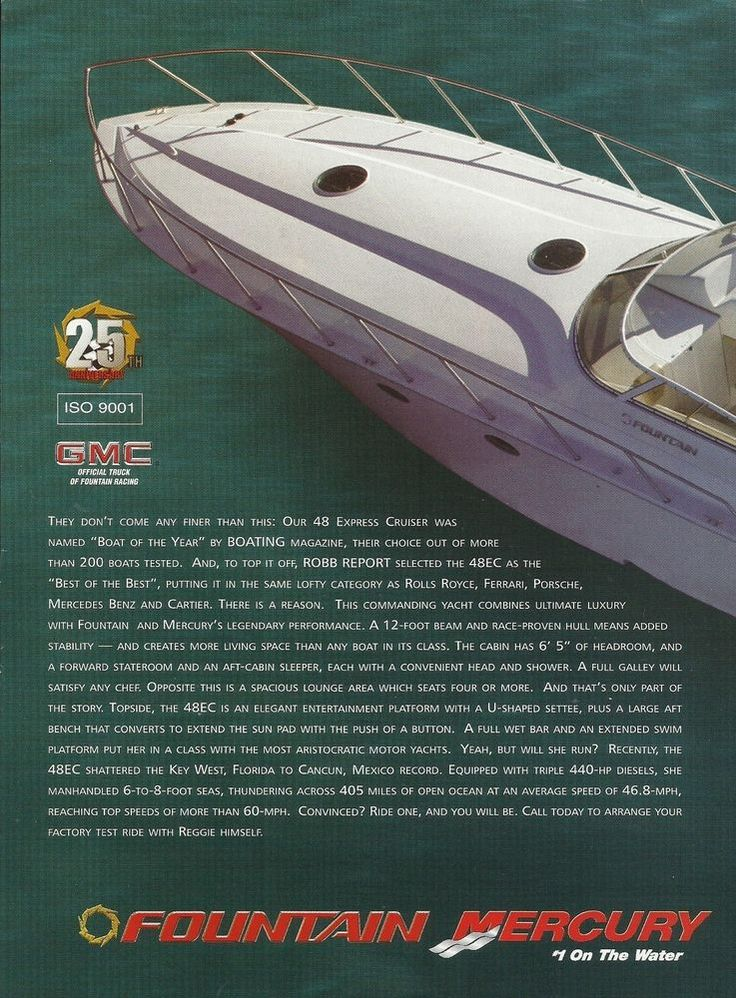 2004 Fountain Powerboats 2 Page Color Ad- The Fountain 48 Express Cruiser