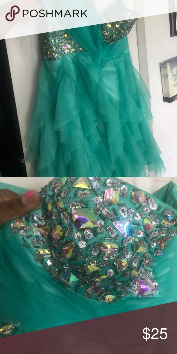 Bedazzled Teal Homecoming Dress I wore this dress one time and at in great condition still! Dresses Prom