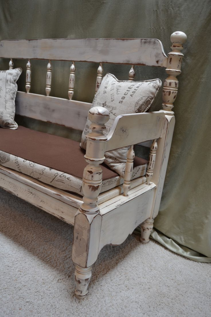 Bench created from a full size headboard and footboard ...