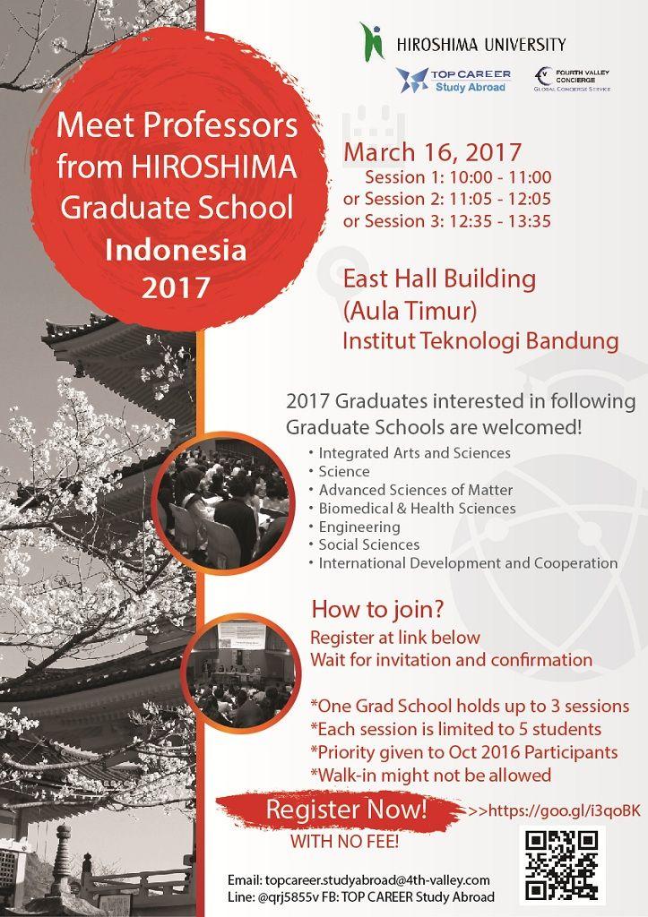 IKUTI! Hiroshima University: Graduate School Seminar dari Top Career, Kamis 16 Maret 2017 di Aula Timur ITB. Info >> http://bit.ly/2lId2Vh