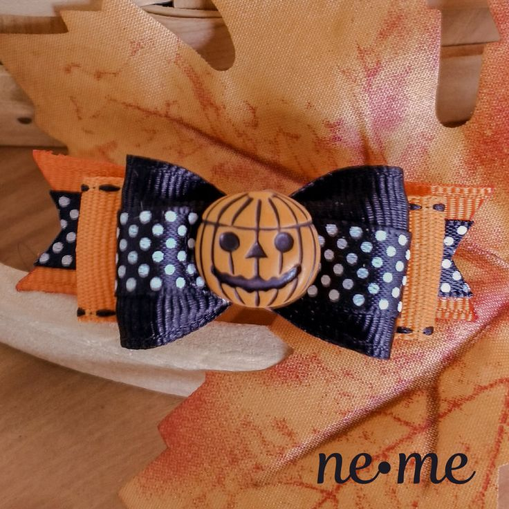 Pumpkin Hair Bowe Bow, Girls and Dog Bow by ne.me hair bows on Etsy.