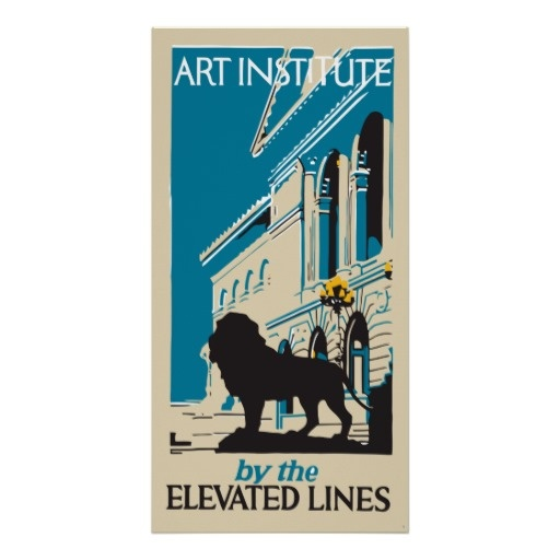 Retro art institute Chicago vertical banner ad Poster (remake from a vintage brochure cover)