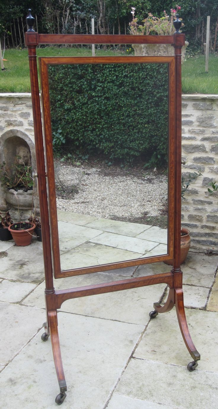 Lovely Sheraton period Full Length Satinwood Cheval Mirror FOR SALE,  http://www.domani-devon.com/stock/mirrors/geo-iii-satinwood-cheval-mirror