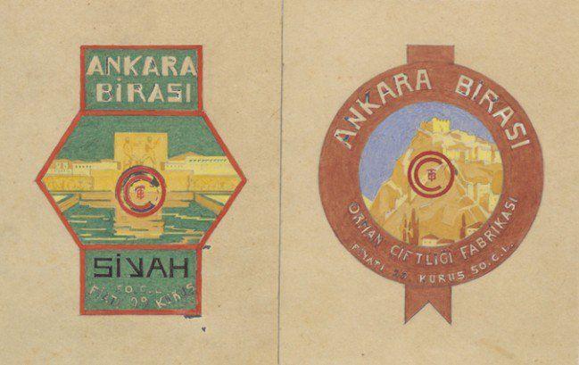 """Cumhuriyetin ilk yıllarında Atatürk Orman Çiftliği'nde kurulan bira fabrikasında üretilen """"Ankara Birası""""na ait reklam afişi."""