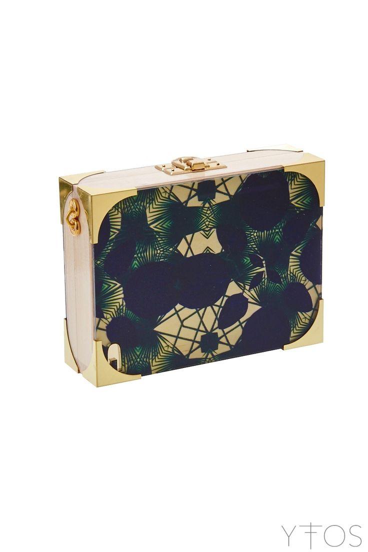 'Tropical' Beige Clutch Bag