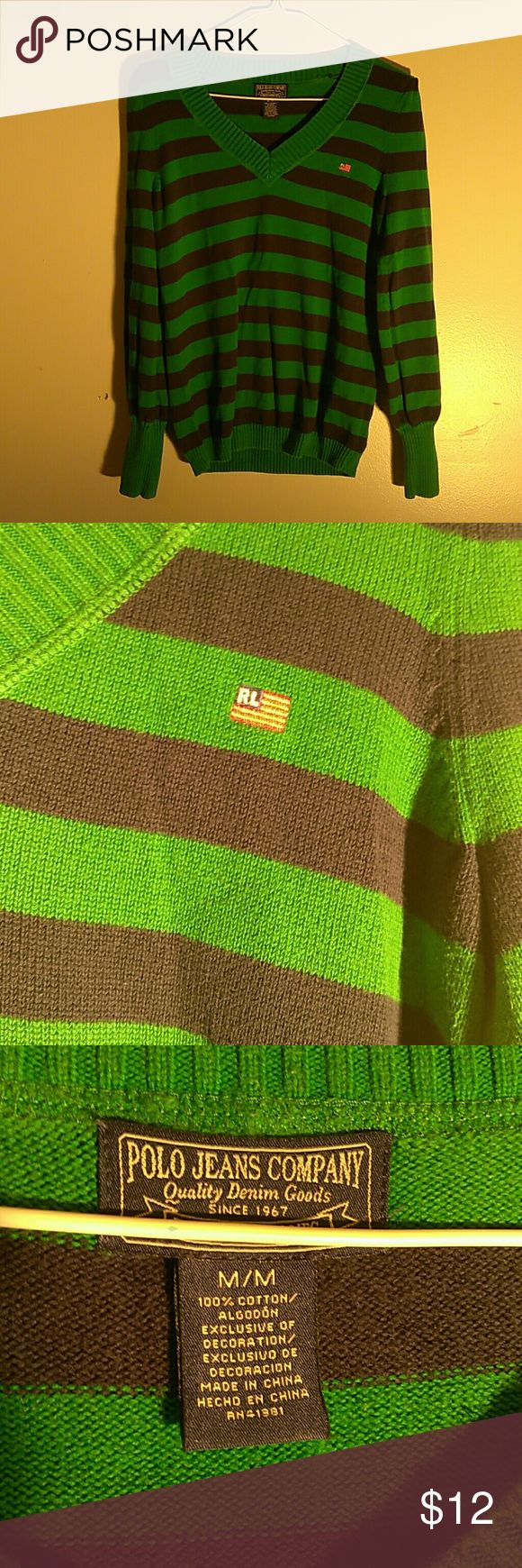 Polo jeans company sweater Polo jeans company sweater in good condition size medium green and blue Ralph Lauren  Sweaters V-Necks