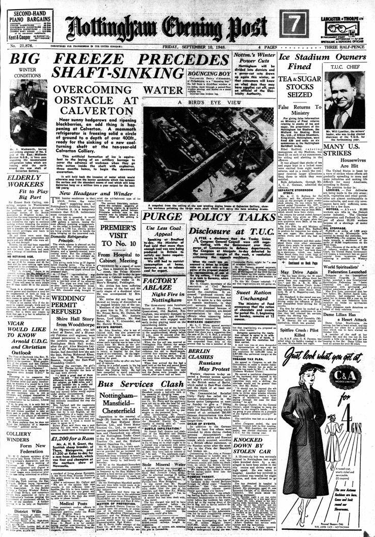 Nottingham Evenign Post 1948 - Calverton Colliery Headline