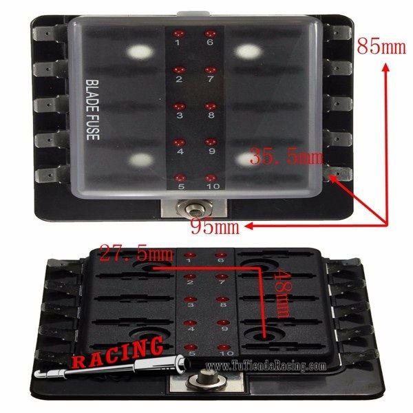 Soporte Porta Fusibles para 10 Fusibles con Luz LED Color Rojo Universal para Coche - 25,48€ - TUTIENDARACING - ENVÍO GRATUITO EN TODAS TUS COMPRAS