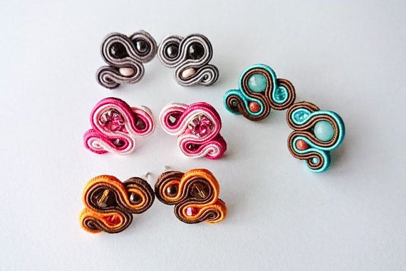 Small stud soutache earrings  pink earrings by DalikaHandMade