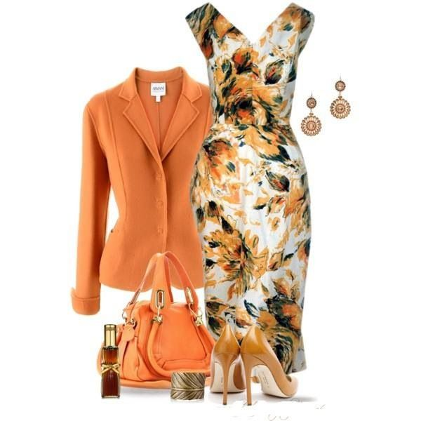 orange/peach outfit