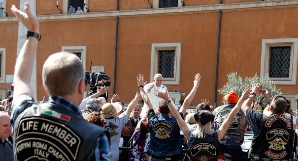 """His Holiness, Francis I, blesses bikers and bikes at the Vatican. To steal from the prayer of the Breton fishermen, """"O, God. Thy road is so great and my bike is so small."""""""
