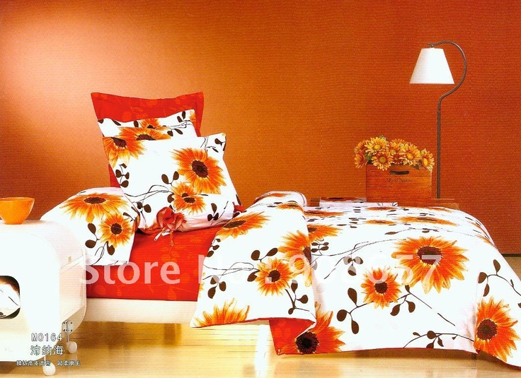 Brushed fabric 4pc queen bedding sets orange red sunflower - Red and orange comforter sets ...