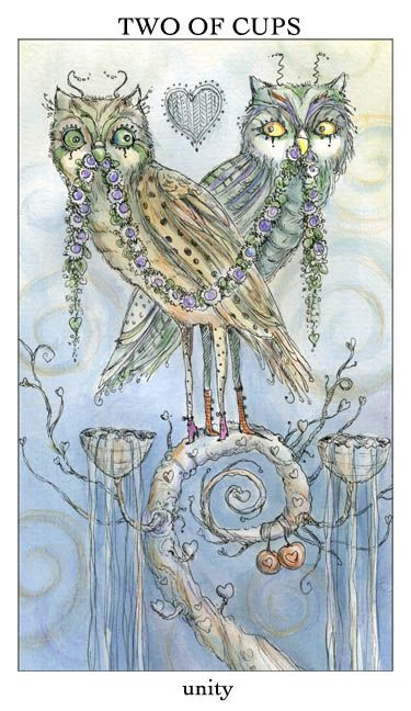 Joie de Vivre Tarot Two of Cups... I like these two love birds! Two sweet owls sharing a string of flowers. Very appropriate for upcoming Litha!