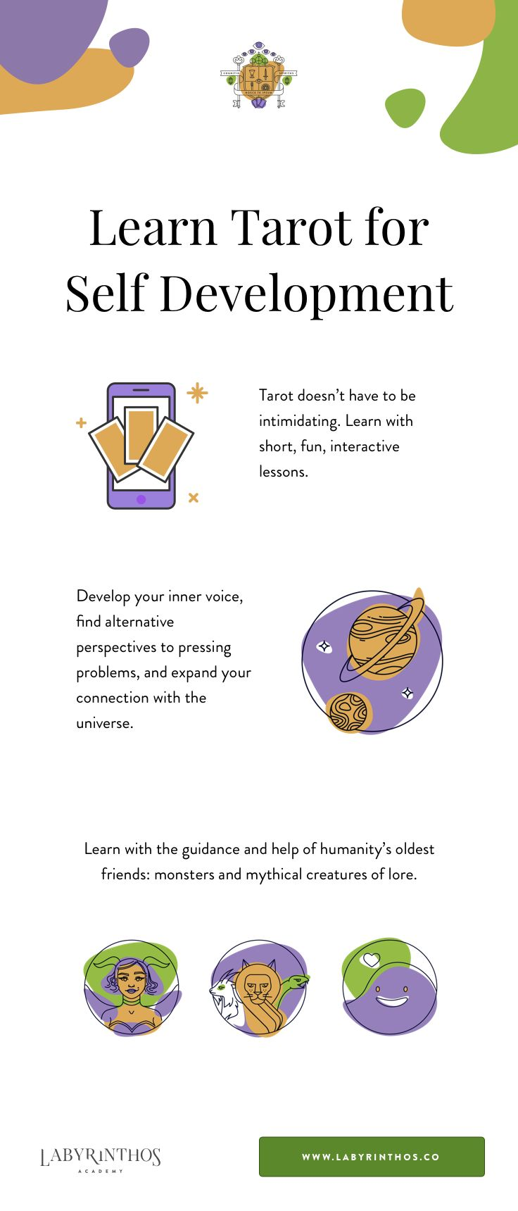 Get started learning tarot today. We provide simple, interactive lessons to learn tarot for self understanding, intuition, meditation and more. You don't have to be intimidated! It's more like a method of spiritual therapy than it is any sort of psychic ability. :)
